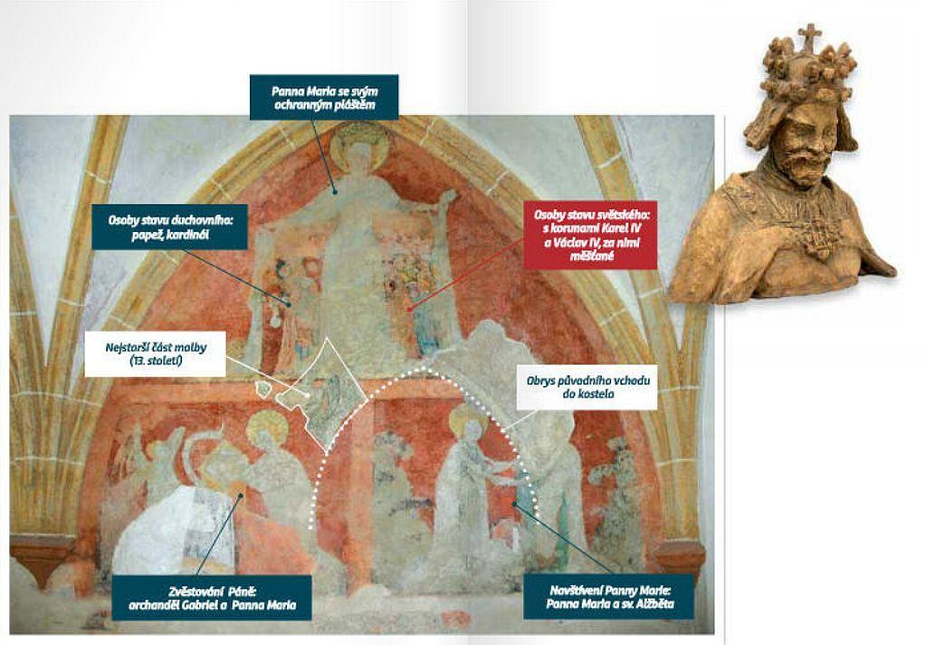 JIří Míchal ukazuje místo v křížové chodbě 800